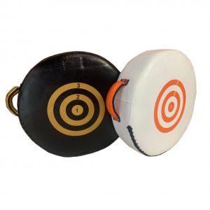 boxing shield, white, orange, black