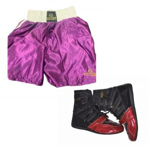 boxing shorts and boxing boots