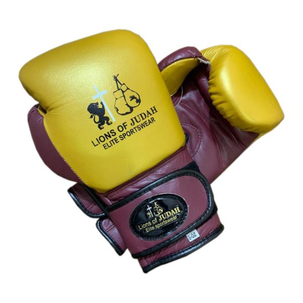 boxing gloves kids gold and burgundy
