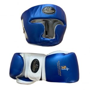 boxing gloves and head guard blue
